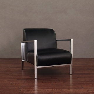 Modena Modern Black Leather Accent Chair