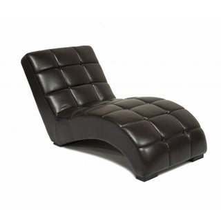 Dark brown chaise lounge for Bellagio button tufted leather brown chaise