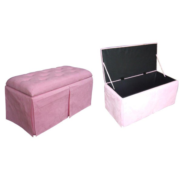 Pink Storage Bench with 2 Ottomans 10889732