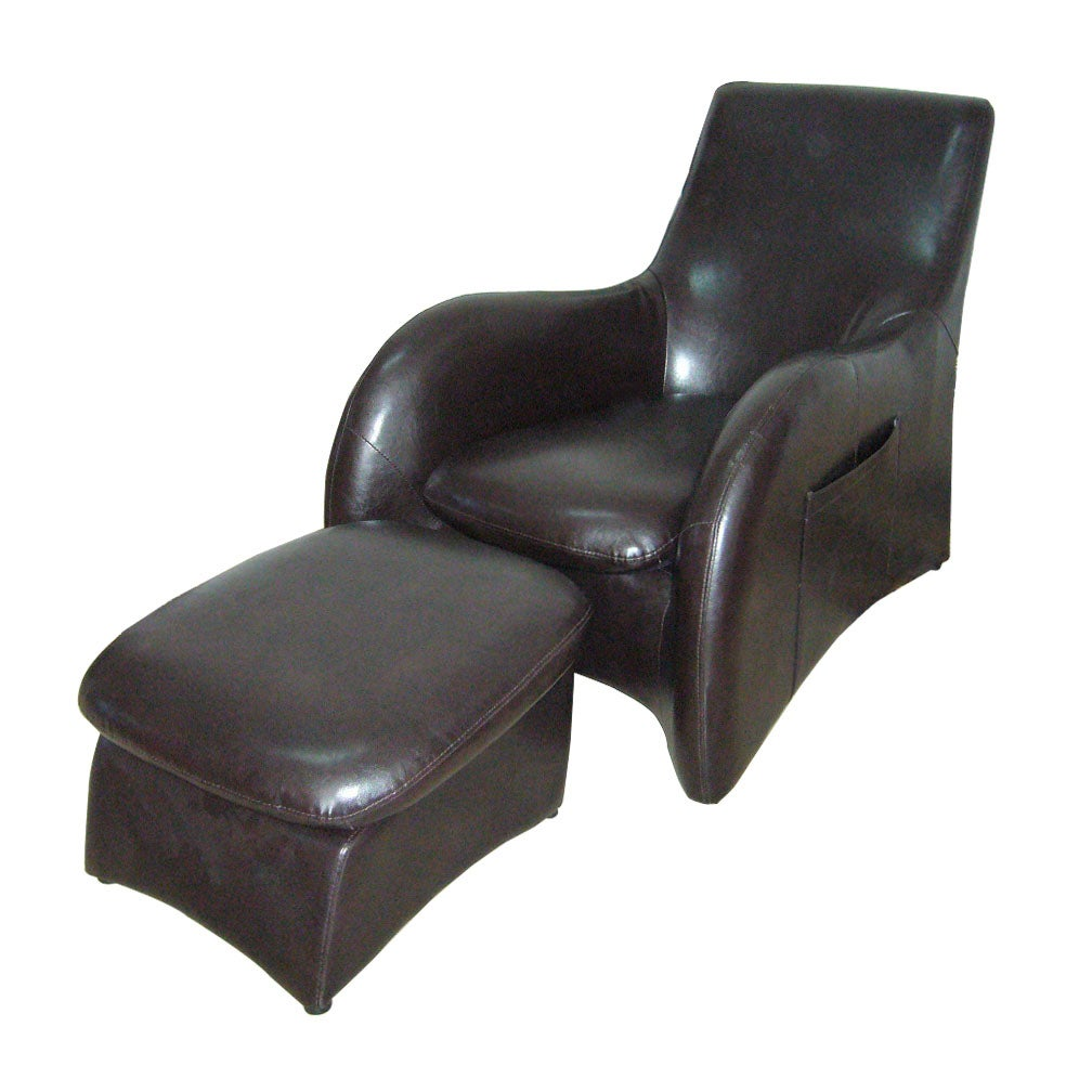 Synthetic Leather Modern Chair and Ottoman Set at Sears.com