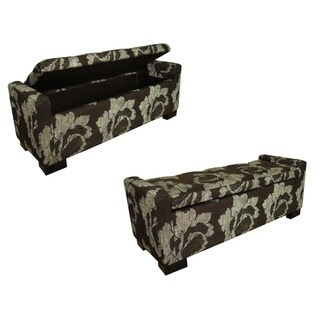Black Floral Storage Bench