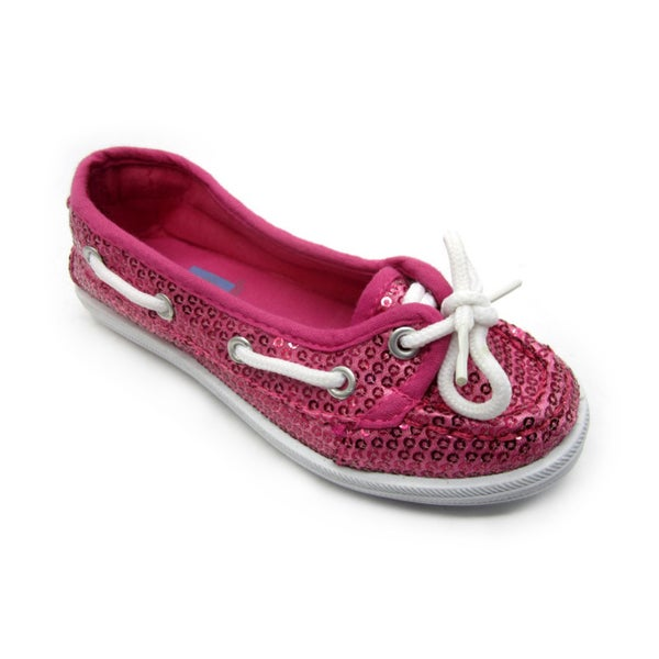 Blue Girl's 'K-Boaty' Sequined Slip-On Boat Shoes in Fuchsia