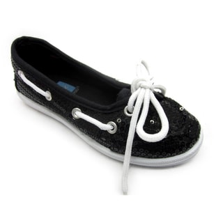Blue Girl's 'K-Boaty' Sequined Slip-on Boat Shoes