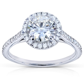 14k Gold Moissanite and 1/4ct TDW Diamond Engagement Ring (G-H, I1-I2)