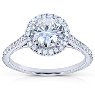 14k White Gold Moissanite and 1/4ct TDW Round Diamond Engagement Ring (G-H, I1-I2)