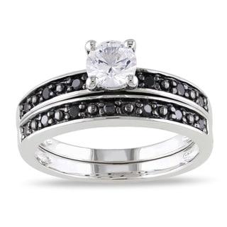 Miadora Silver White Sapphire and 1/5ct TDW Black Diamond Ring Set