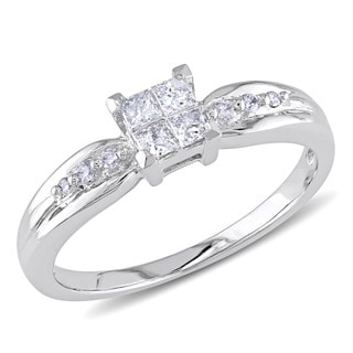 Miadora 10k White Gold 1/4ct TDW Invisible Diamond Ring (H-I, I2-I3)