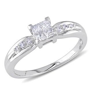 Miadora 10k White Gold 1/4ct TDW Invisible Diamond Ring (H-I, I2-I3)