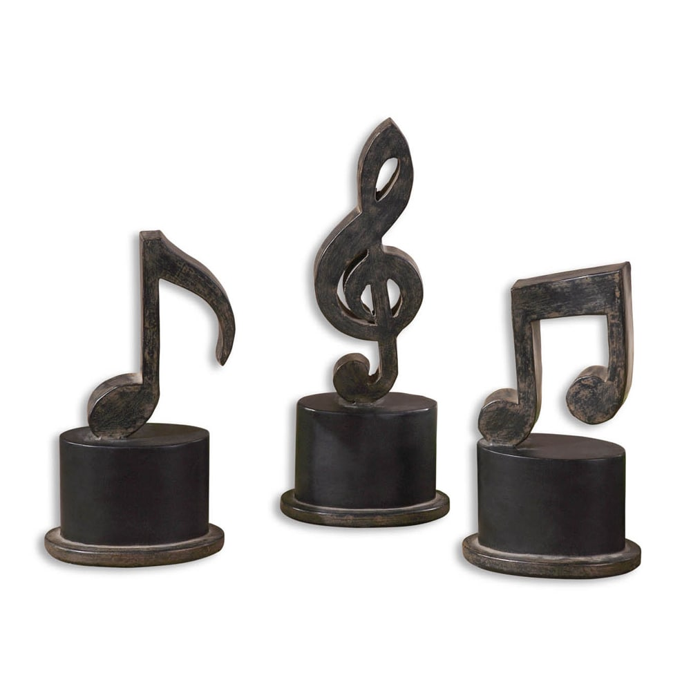 uttermost music notes aged black metal figurines (set of )  ebay - uttermost music notes aged black metal figurines (set of )