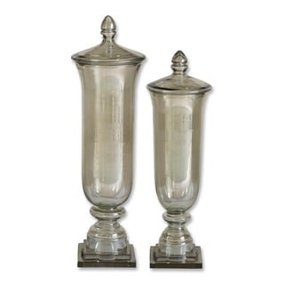 Uttermost Gilli Pale Green Glass Decorative Containers (Set of 2)