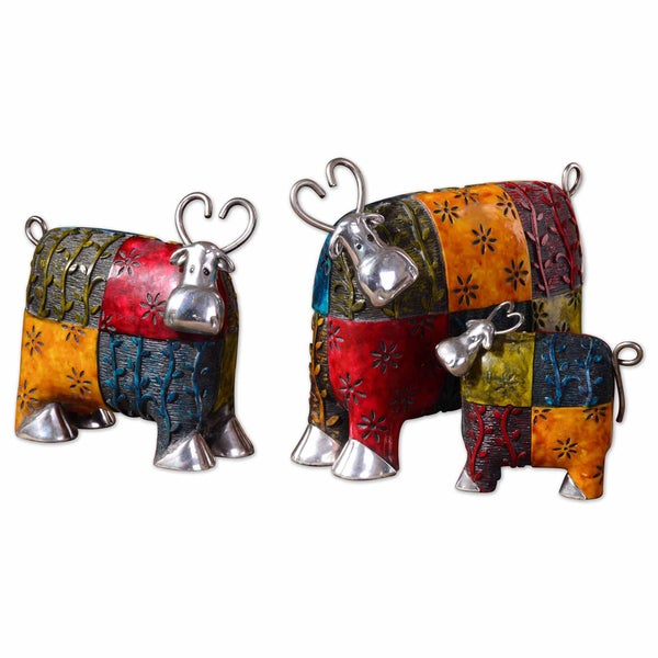 Uttermost Colorful Cows Silver Plated Metal Figurines (Set of 3)