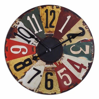 Rustic Bronze Vintage License Plates 29-inch Wall Clock