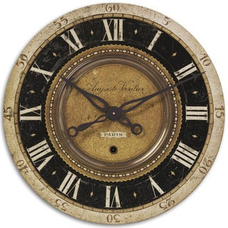 Auguste Verdier 27-inch Antiqued Brass Wall Clock