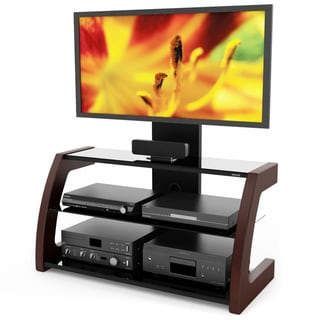 Sonax Milan Deep Espresso Hybrid TV Stand with Solid Wood Uprights