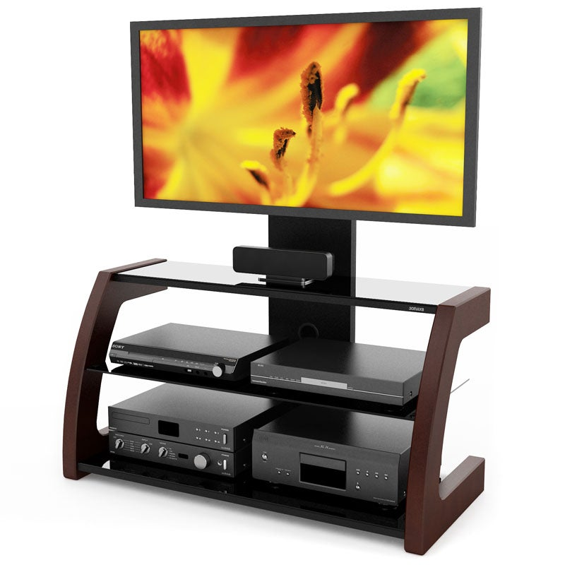 Sonax Milan Deep Espresso Hybrid TV Stand with Solid Wood Uprights at Sears.com