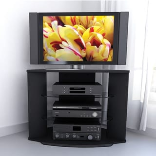 Sonax Rio 35-inch Midnight Black TV Stand with Two Glass Shelves
