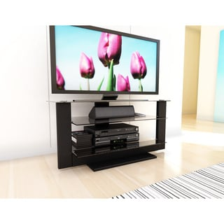Sonax Atlantic 40-inch Midnight Black TV Stand with Glass Shelves