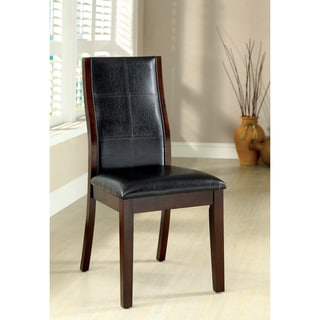 Furniture of America Tornillo Leatherette Brown Cherry Dining Chairs (Set of 2)
