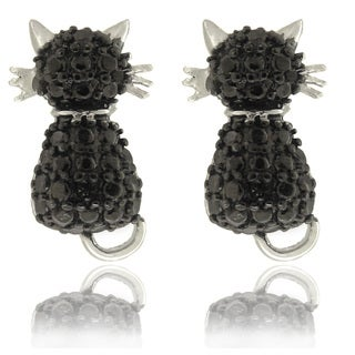 Finesque Silver Overlay Black Diamond Accent Cat Stud Earrings