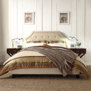 INSPIRE Q Fletcher Beige Linen Button Tufted Arched Bridge Upholstered King-size Bed