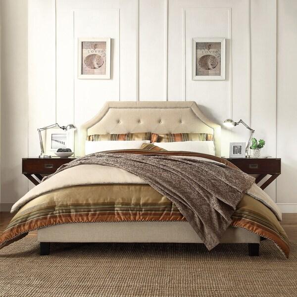 INSPIRE Q Grace Beige Linen Button Tufted Arched Bridge Upholstered King-sized Platform Bed