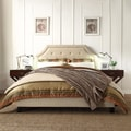 Esmeral Beige Linen Button Tufted Arched Bridge Upholstered King-size Bed