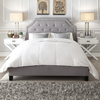 Inspire Q Esmeral Grey Linen Button Tufted Arched Bridge Upholstered King-size Bed
