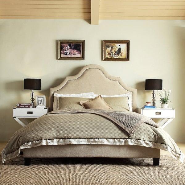 INSPIRE Q Fletcher Beige Linen Nailhead Arch Curved Upholstered King-sized Platform Bed