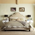 INSPIRE Q Fletcher Beige Linen Nailhead Arch Curved Upholstered King-sized Platform Bed