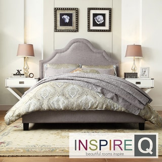 Inspire Q Esmeral Grey Linen Nail Head Arch Curved Upholstered King-size Bed