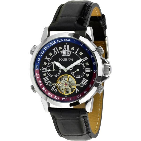 Louis XVI Men's Aramis Le Noir Black Leather Automatic Watch