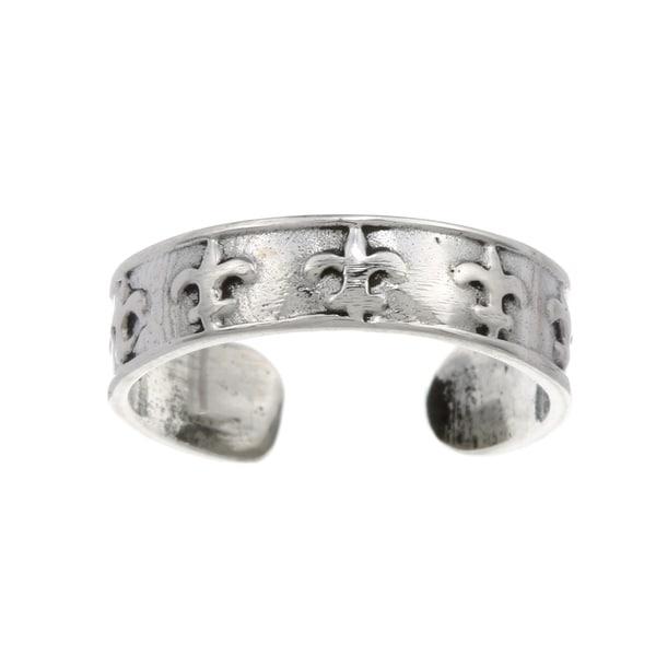 Sterling Silver Mini Fleur de Lis Adjustable Toe Ring