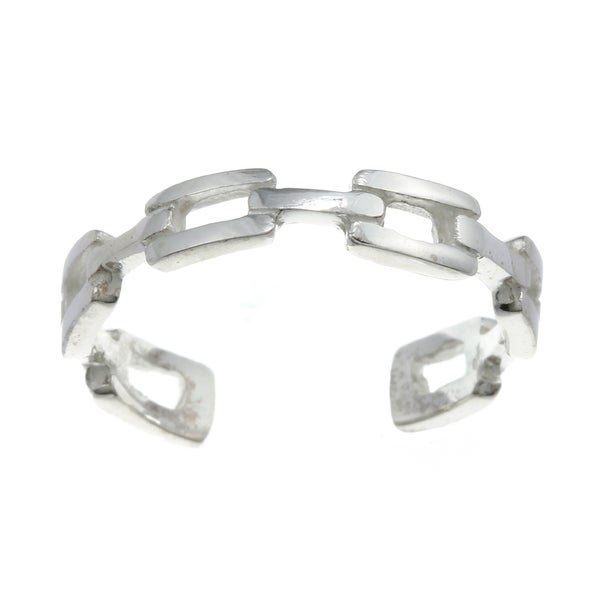 Sterling Silver Chain Link Adjustable Toe Ring 10890342