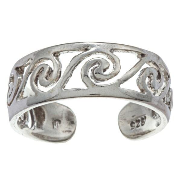 Sterling Silver Scroll Filigree Adjustable Toe Ring