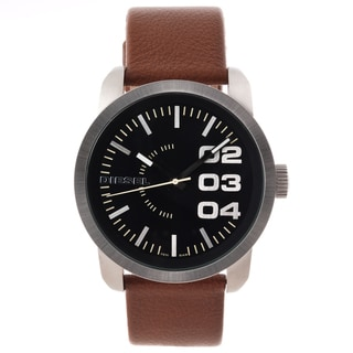 Diesel Men's Black Dial Brown Leather Strap Watch