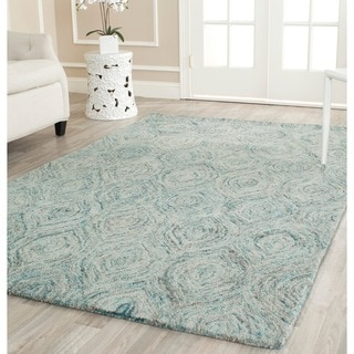 Safavieh Handmade Ikat Ivory/ Sea Blue Wool Rug (6' x 6' Square)