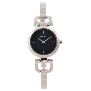 DKNY Women's Black Dial Silvertone Bangle Watch