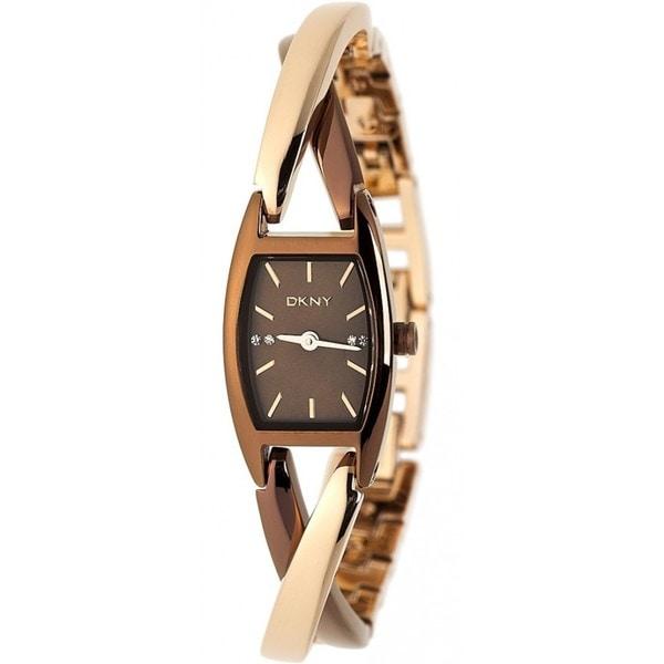 DKNY Women's Brown/ Rose-goldtone Twist Watch