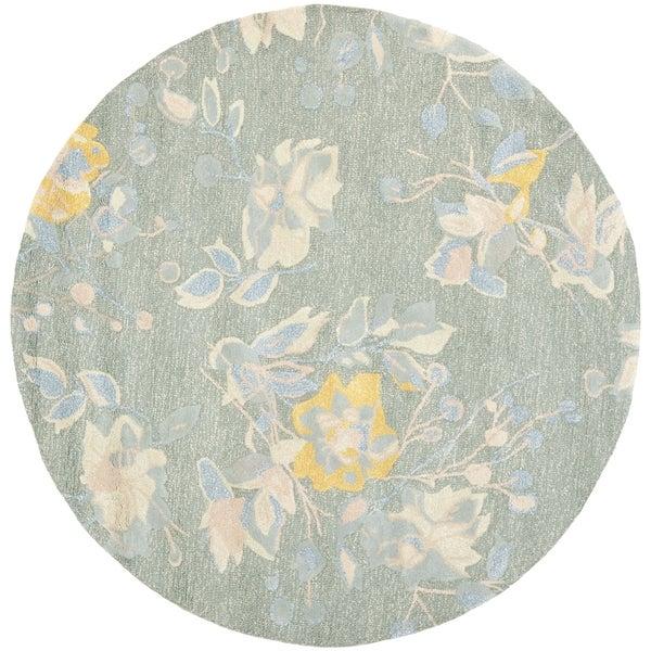 Safavieh Handmade Jardin Silver/ Blue Wool Rug (6' x 6' Round)