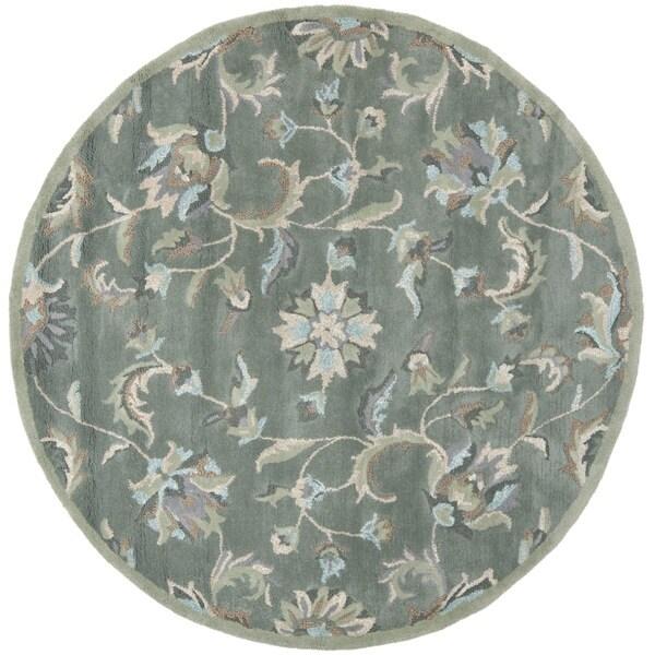 Safavieh Handmade Jardin Grey/ Multi Wool Rug (6' x 6' Round)