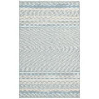 Safavieh Hand-woven Kilim Light Blue/ Ivory Wool Rug (3' x 5')