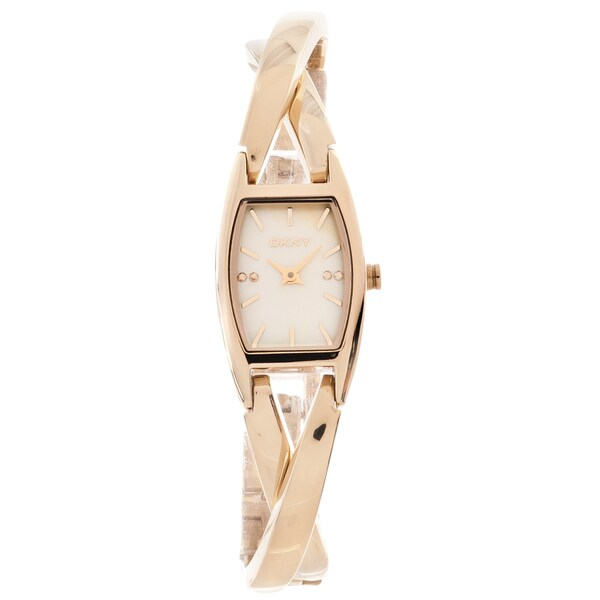 DKNY Women's 'Essentials' Rose Goldtone Crossover Bangle Watch