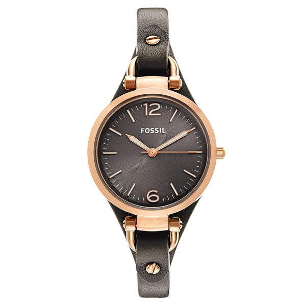 Fossil Women's ES3077 'Georgia' Rose-goldtone Leather Strap Watch