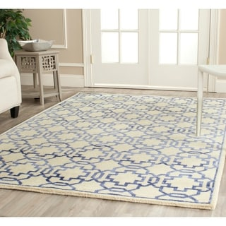 Safavieh Hand-knotted Mosaic Cream/ Purple Wool/ Viscose Rug (8' x 10')