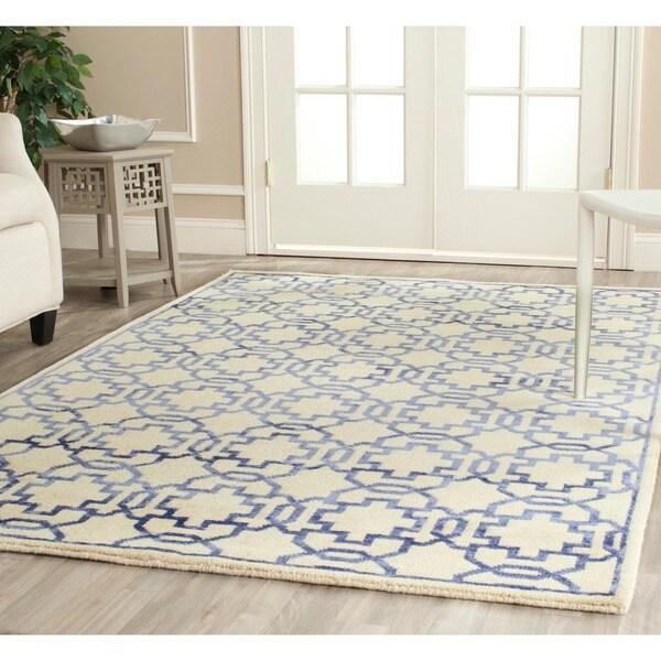 Safavieh Hand-knotted Mosaic Cream/ Purple Wool/ Viscose Rug (8' x 10')