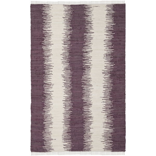 Safavieh Hand-woven Montauk Purple Cotton Rug (4' x 6')