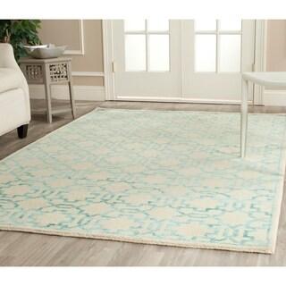 Safavieh Hand-knotted Mosaic Cream/ Aqua Wool/ Viscose Rug (5' x 8')