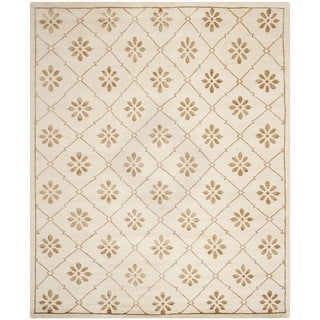 Safavieh Hand-knotted Mosaic Cream/ Light Brown Wool/ Viscose Rug (8' x 10')