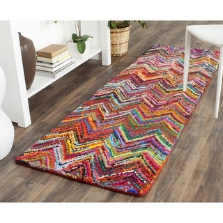 Safavieh Handmade Nantucket Pink/ Multi Cotton Rug (2'3 x 7')