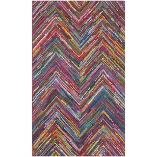 Safavieh Handmade Nantucket Pink/ Multi Cotton Rug (3' x 5')